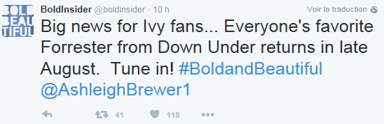 Ivy Forrester back !