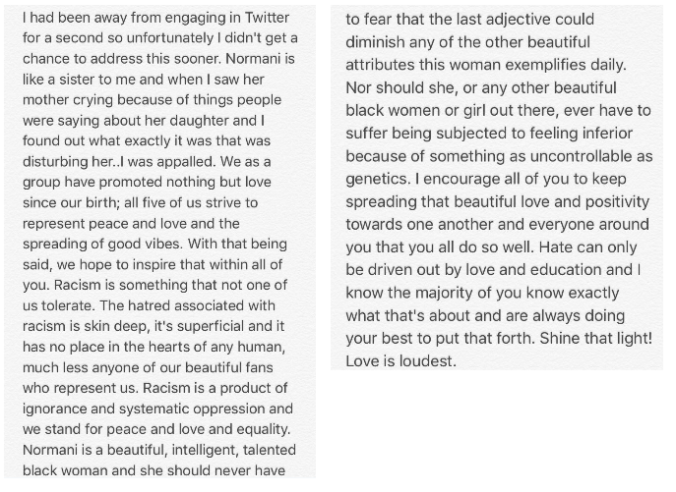 Fifth Harmony Lau's full Letter