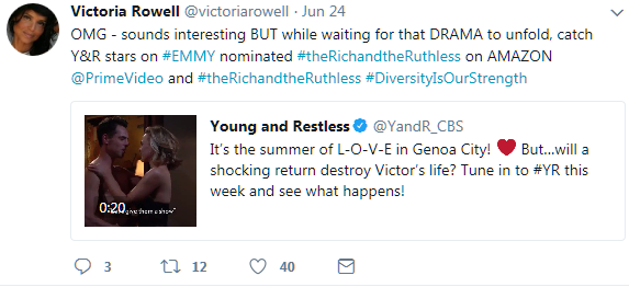 Dru-Victoria Rowell tweet promo